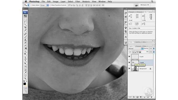 Removing a gap between teeth: Photoshop CS3 Portrait Retouching Essentials