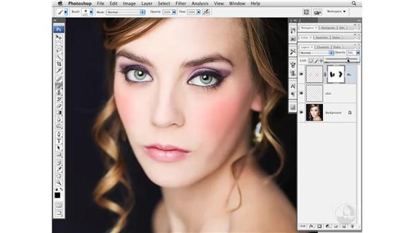 Adding color to cheeks: Photoshop CS3 Portrait Retouching Essentials