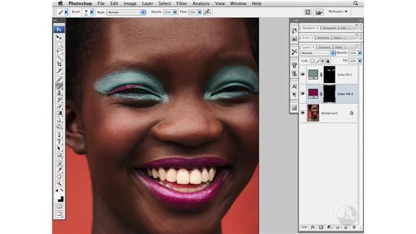 Enhancing makeup and adding creative color: Photoshop CS3 Portrait Retouching Essentials