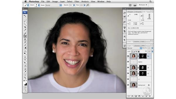 Cleaning up skin and sharpening: Photoshop CS3 Portrait Retouching Essentials