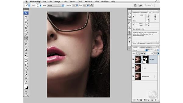 Cleaning up skin and adding texture: Photoshop CS3 Portrait Retouching Essentials
