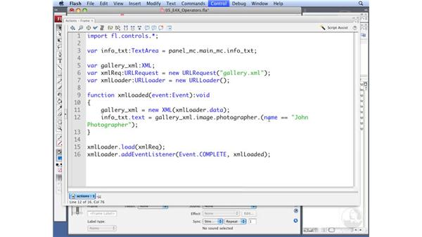 Working with E4X operators: ActionScript 3.0: Working with XML