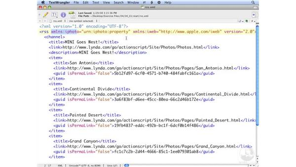 Exploring an RSS file: ActionScript 3.0: Working with XML