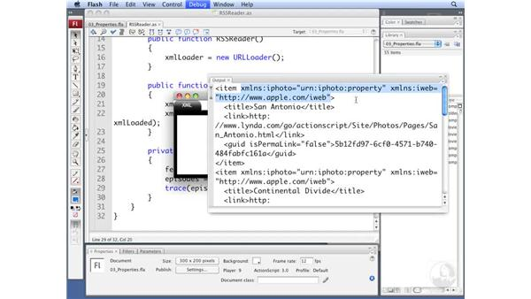 Setting properties for the RSSReader class: ActionScript 3.0: Working with XML