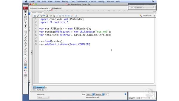 Dispatching events in the RSSReader class: ActionScript 3.0: Working with XML