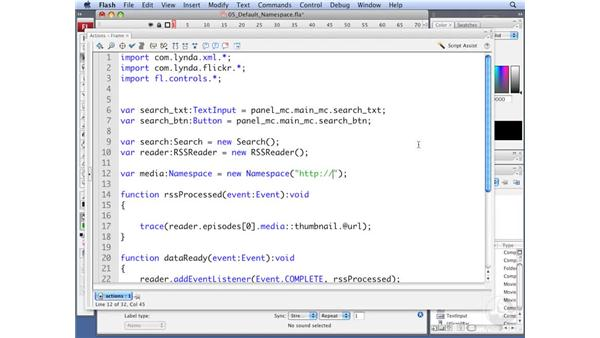 Setting a default namespace: ActionScript 3.0: Working with XML