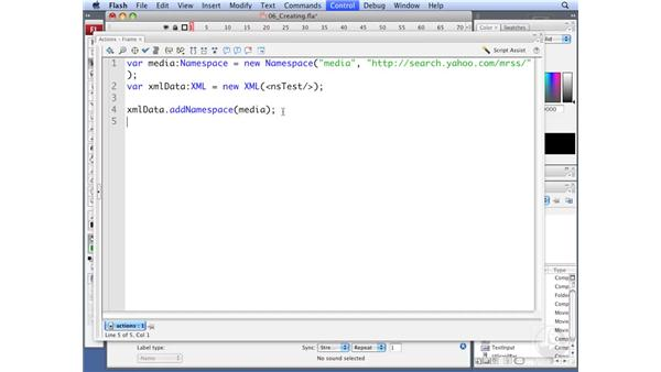 Creating namespace qualified data: ActionScript 3.0: Working with XML