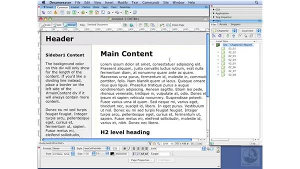 Working with starter pages: Dreamweaver CS3 with CSS Essential Training