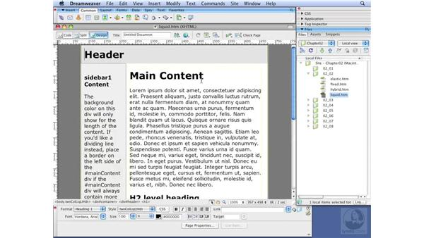 Defining fixed, elastic, liquid, and hybrid: Dreamweaver CS3 with CSS Essential Training