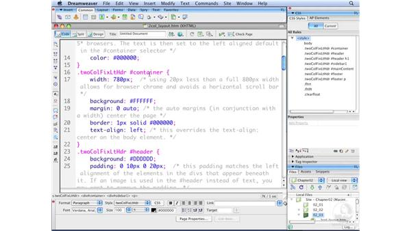Understanding starter page structures: Dreamweaver CS3 with CSS Essential Training