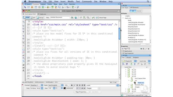 Moving CSS between files: Dreamweaver CS3 with CSS Essential Training