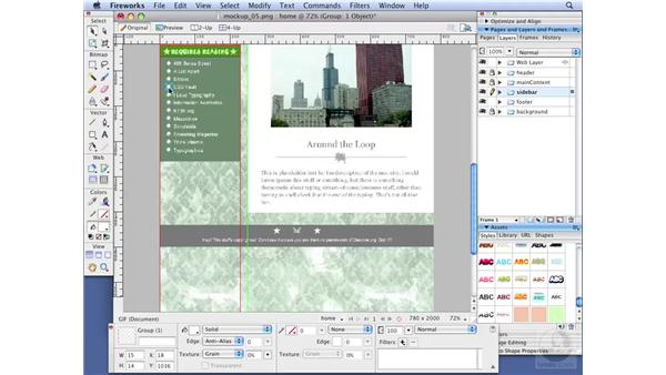 Slicing images in Fireworks: Dreamweaver CS3 with CSS Essential Training