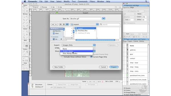 Exporting Fireworks content to Dreamweaver: Dreamweaver CS3 with CSS Essential Training