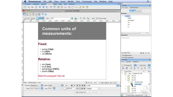 Understanding units of measurement: Dreamweaver CS3 with CSS Essential Training