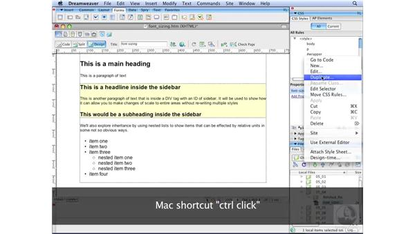 Controlling font sizing: Dreamweaver CS3 with CSS Essential Training