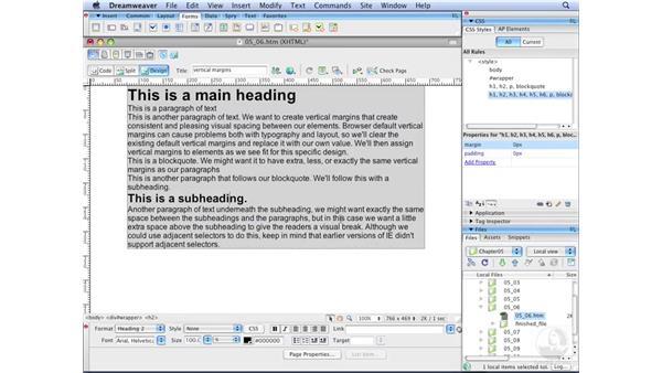 Controlling vertical margins: Dreamweaver CS3 with CSS Essential Training