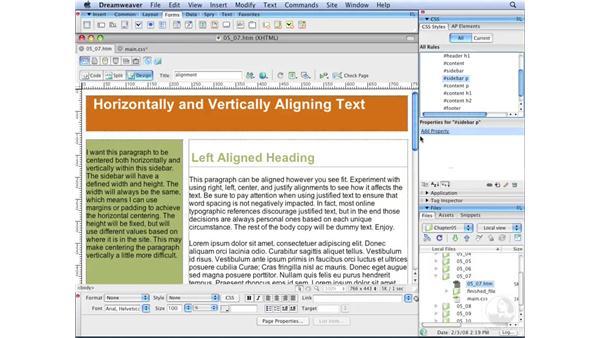 Horizontally aligning text: Dreamweaver CS3 with CSS Essential Training