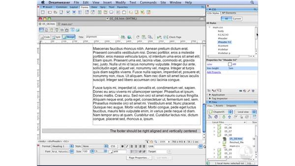 Vertically aligning text: Dreamweaver CS3 with CSS Essential Training