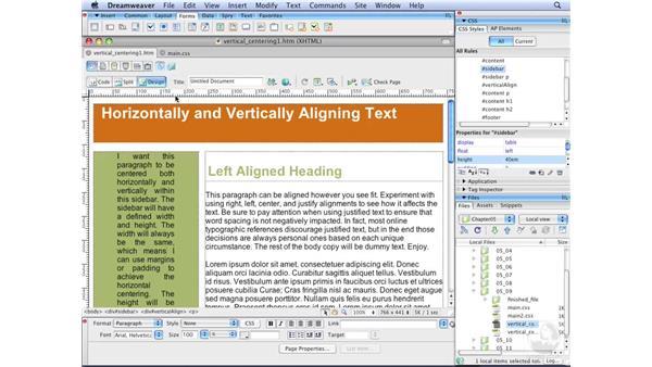 Vertically centering block-level elements: Dreamweaver CS3 with CSS Essential Training