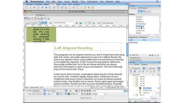 Setting column width: Dreamweaver CS3 with CSS Essential Training