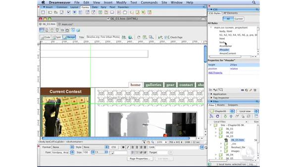 Controlling background image tiling: Dreamweaver CS3 with CSS Essential Training