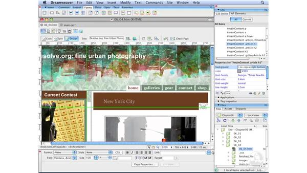 Positioning background images: Dreamweaver CS3 with CSS Essential Training