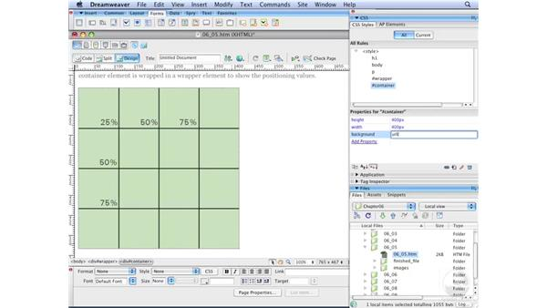 Using percentage values for positioning : Dreamweaver CS3 with CSS Essential Training