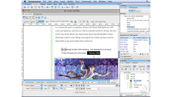 Complex background graphics: Dreamweaver CS3 with CSS Essential Training