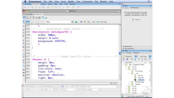 Using thead and tbody for styling: Dreamweaver CS3 with CSS Essential Training