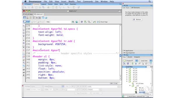 Using pseudo-class selectors for tables: Dreamweaver CS3 with CSS Essential Training