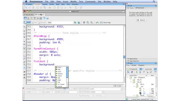 Styling fieldset and legend elements: Dreamweaver CS3 with CSS Essential Training