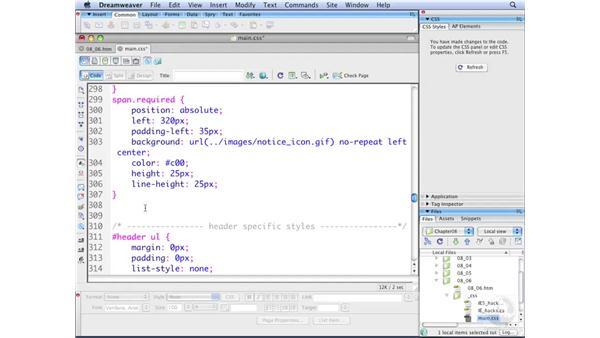 Adding user interaction: Dreamweaver CS3 with CSS Essential Training