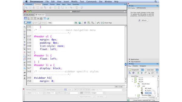 Creating horizontal menus pt. 3: Styling links: Dreamweaver CS3 with CSS Essential Training