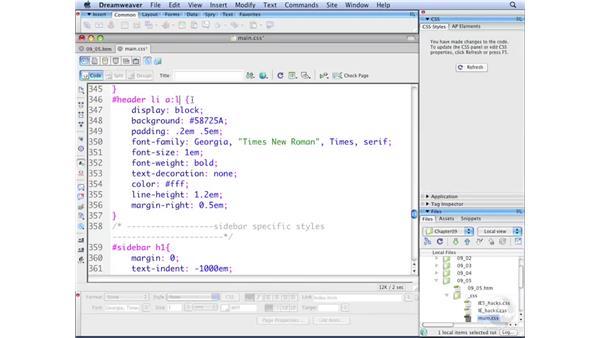 Creating horizontal menus pt. 4: Rollovers: Dreamweaver CS3 with CSS Essential Training