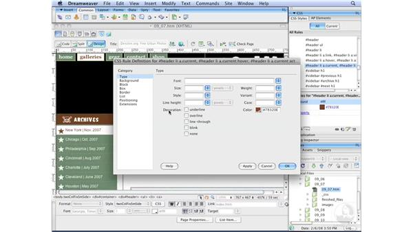Creating horizontal menus pt. 6: Modifying cursor usage: Dreamweaver CS3 with CSS Essential Training
