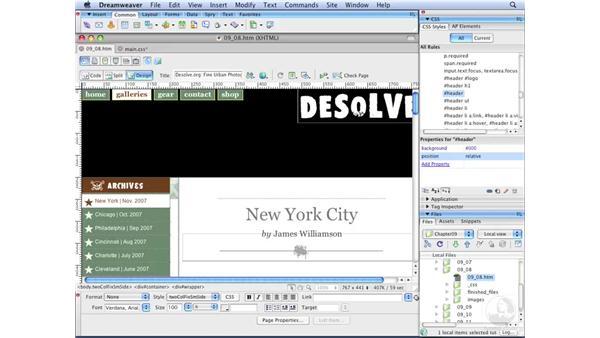 Creating horizontal menus pt. 7: Positioning menus: Dreamweaver CS3 with CSS Essential Training