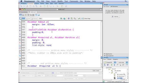 Styling vertical menus pt. 1: Vertical menu considerations: Dreamweaver CS3 with CSS Essential Training