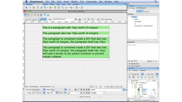 Understanding margin collapse: Dreamweaver CS3 with CSS Essential Training