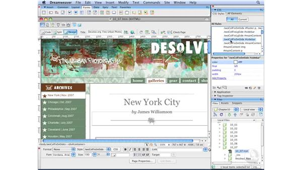 Understanding fixed positioning: Dreamweaver CS3 with CSS Essential Training