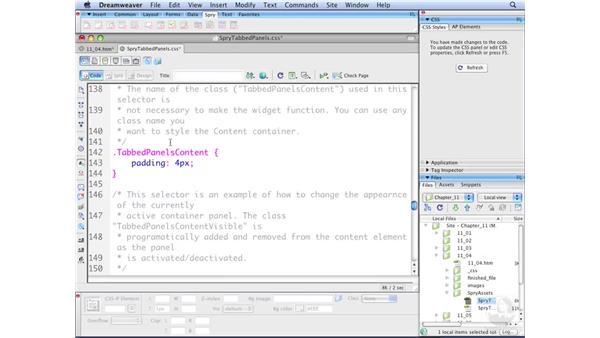 Modifying tabbed panels through CSS: Dreamweaver CS3 with CSS Essential Training