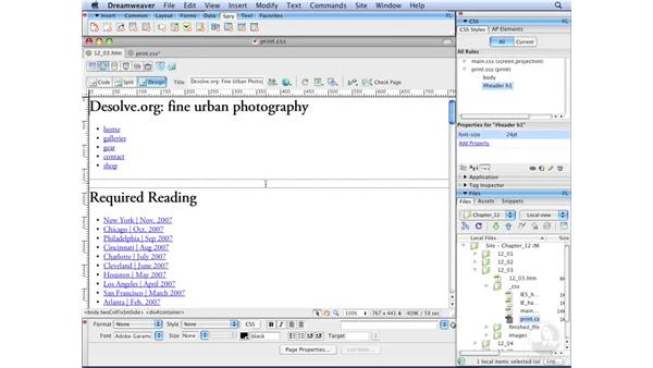 Styling type for print: Dreamweaver CS3 with CSS Essential Training