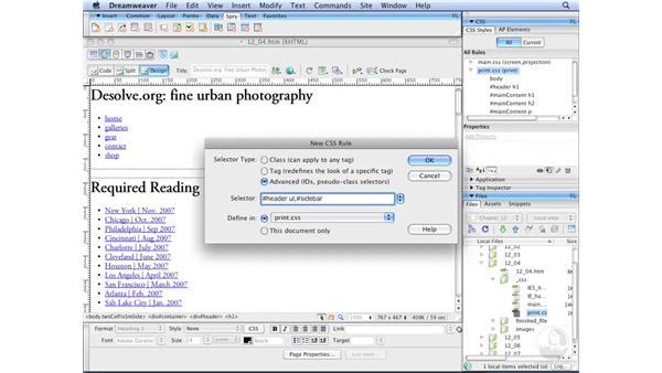 Suppressing element printing: Dreamweaver CS3 with CSS Essential Training