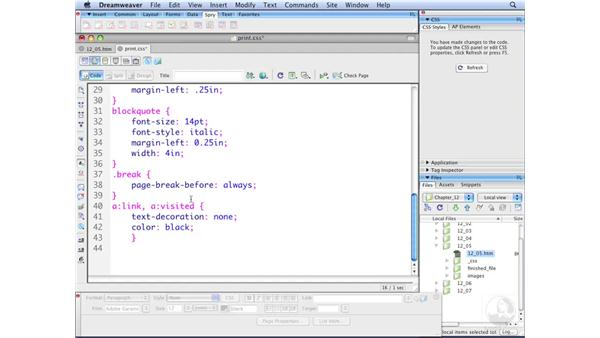 Controlling page breaks: Dreamweaver CS3 with CSS Essential Training