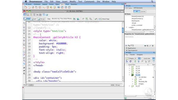 Using @media blocks: Dreamweaver CS3 with CSS Essential Training