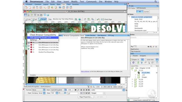 Using Dreamweaver's Browser Compatibility Check: Dreamweaver CS3 with CSS Essential Training
