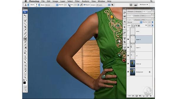 Removing a background element pt. 3: Detailed skin work: Photoshop CS3 Portrait Retouching Techniques