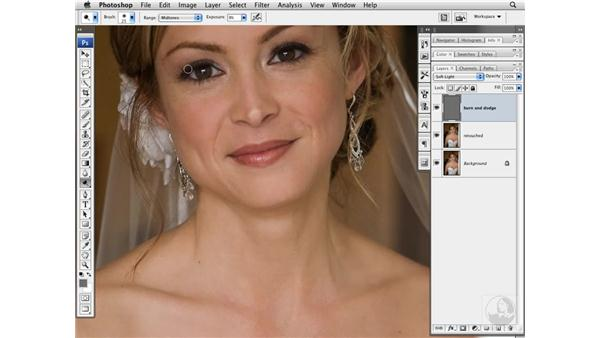 Reducing wrinkles with Burn and Dodge: Photoshop CS3 Portrait Retouching Techniques