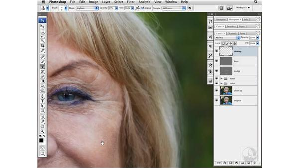 Lightening wrinkles with the Clone Stamp tool: Photoshop CS3 Portrait Retouching Techniques