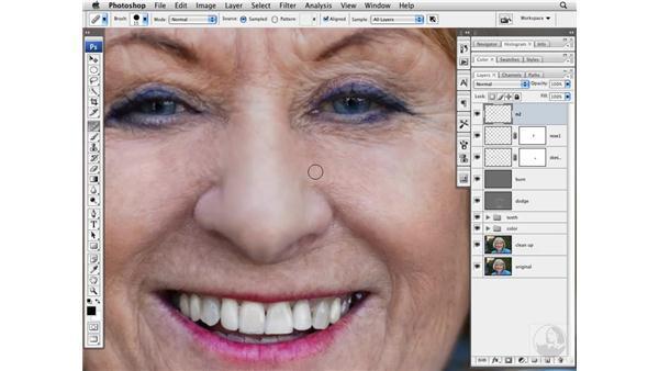 Improving the shape of the nose: Photoshop CS3 Portrait Retouching Techniques