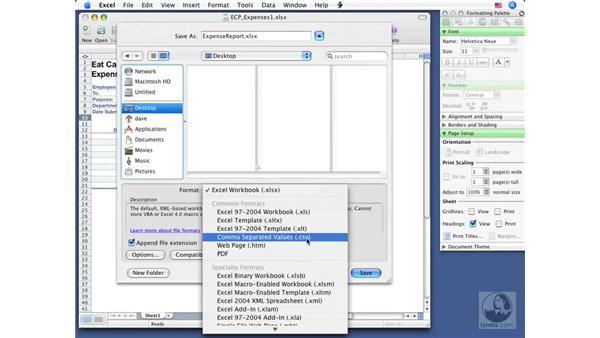 Saving workbooks: Excel 2008 for Mac Essential Training